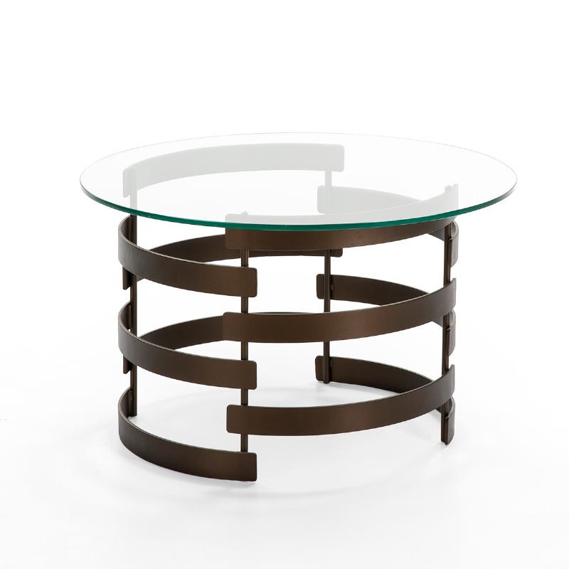 Coffee Table 76X76X46 Glass Metal Golden Aged