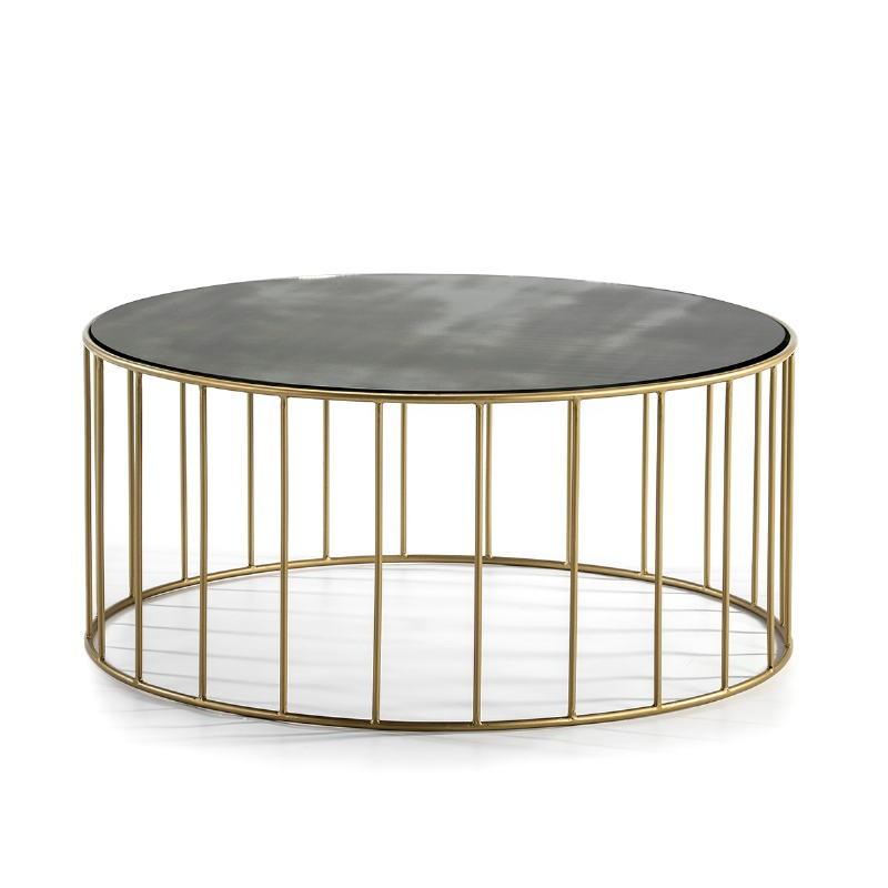 Tavolini Bassi 101X101X45 Specchio Invecchiato Metallo Dorato