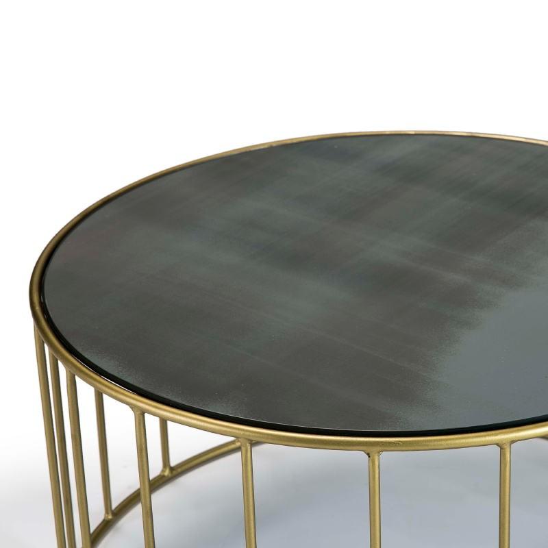 Table basse 101x101x45 Miroir Vieilli Métal Doré - image 51559