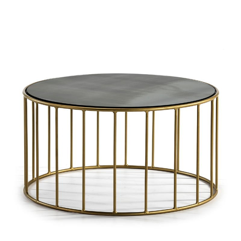 Side Table 76X76X40 Mirror Aged Metal Golden