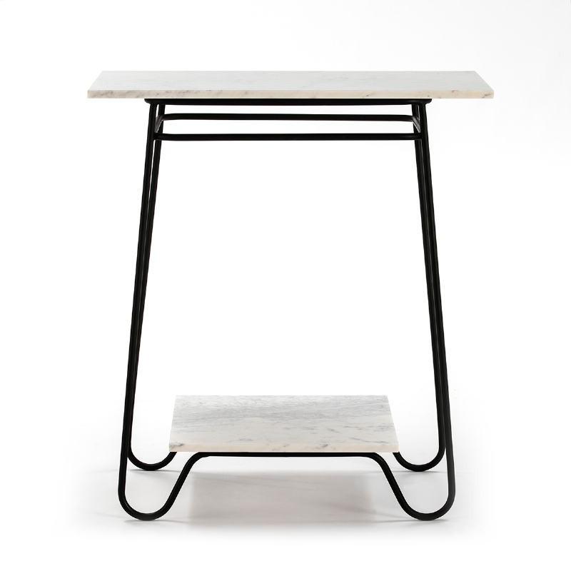 Table d'appoint, bout de canapé, bout de canapé 71x41x78 Marbre Blanc Métal Noir - image 51569