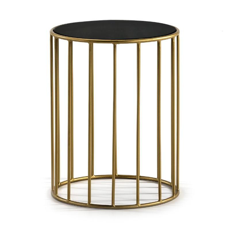 Side Table 43X43X65 Mirror Black Metal Golden
