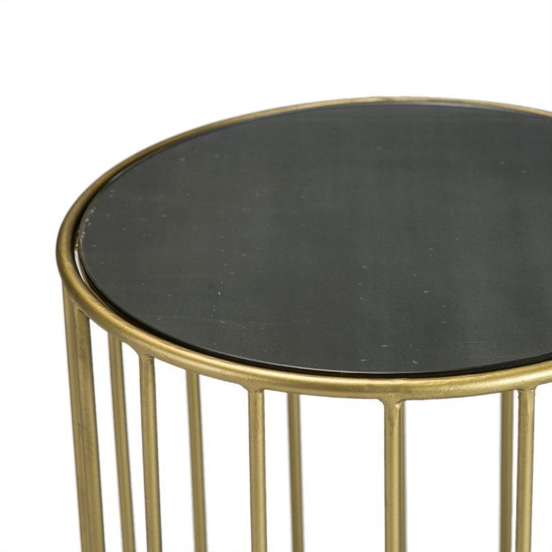 Side Table 43X43X65 Mirror Black Metal Golden - image 51571