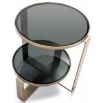 Table d'appoint, bout de canapé bout de canapé 53x46x51 Verre fumé Métal Argent Antique
