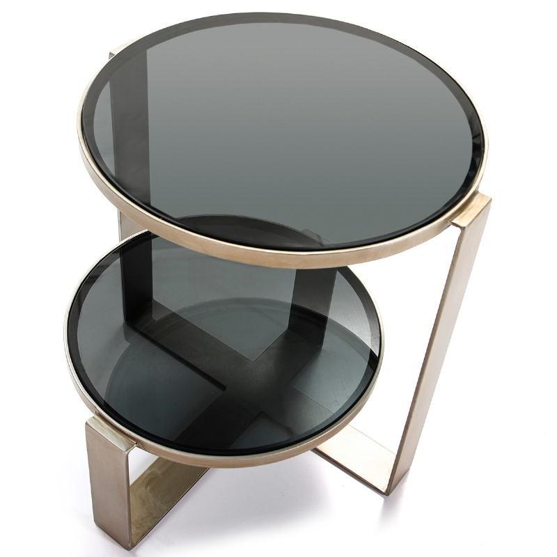 Table d'appoint, bout de canapé bout de canapé 53x46x51 Verre fumé Métal Argent Antique - image 51577