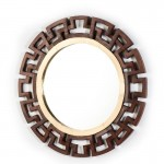Mirror 92X3X92 Glass Tin Golden Wood Brown
