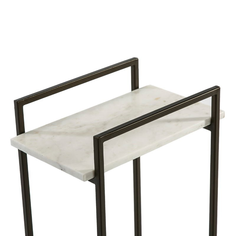 Table d'appoint, bout de canapé, bout de canapé 36x23x56 Marbre Blanc Métal Noir - image 51583