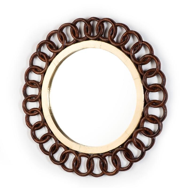 Specchio 91X3X91 Vetro Latta Dorato Legno Marrone