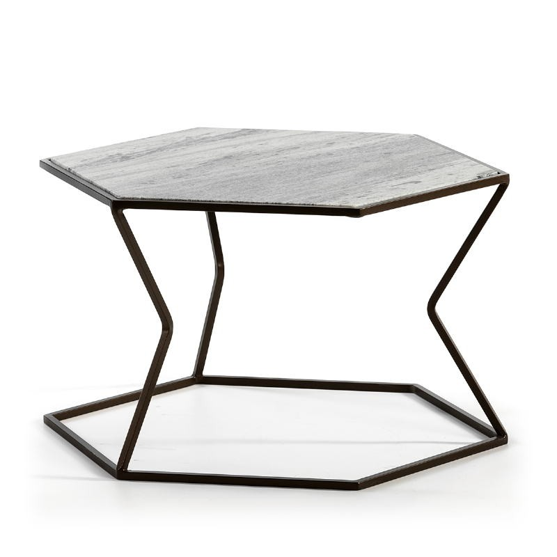 Coffee Table 61X61X41 Marble Metal Dark Brown