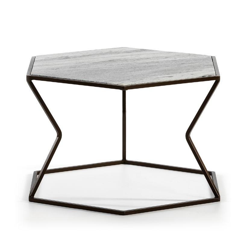 Coffee Table 61X61X41 Marble Metal Dark Brown - image 51588