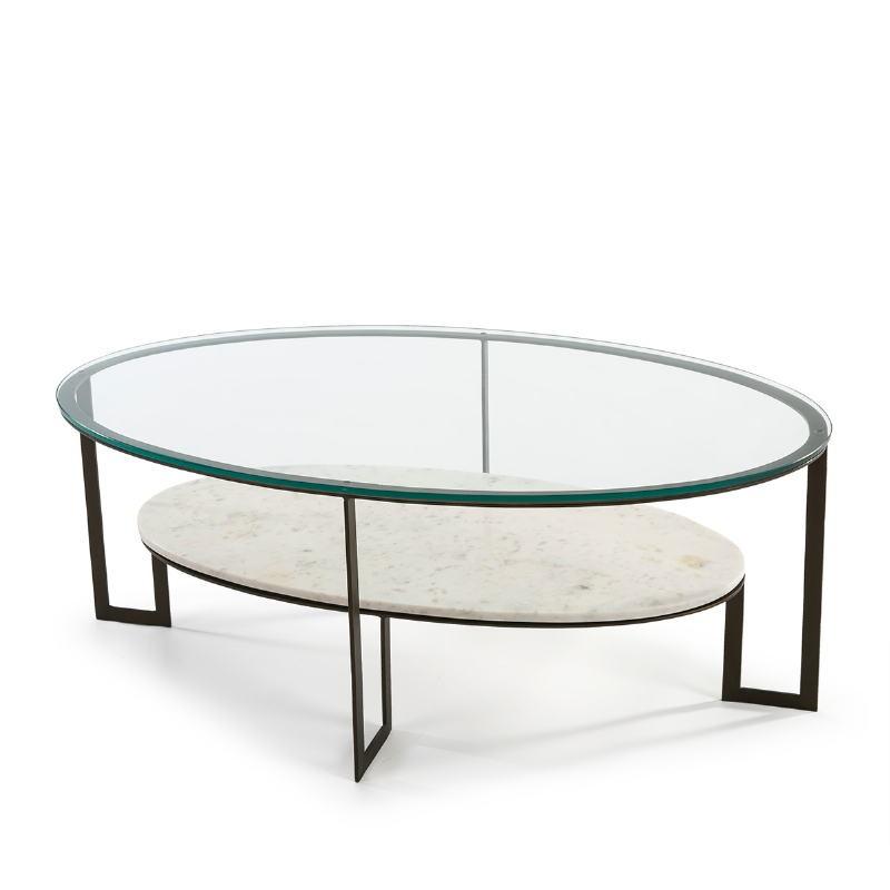 Table basse 107x62x44 Verre Marbre Blanc Métal Marron Fonce - image 51590