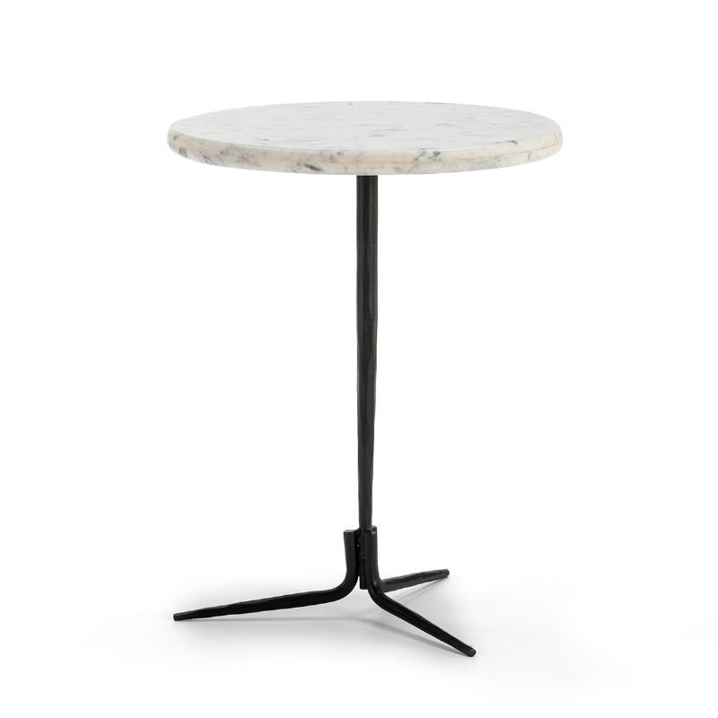 Side Table 46X46X58 Marble White Metal Black - image 51593