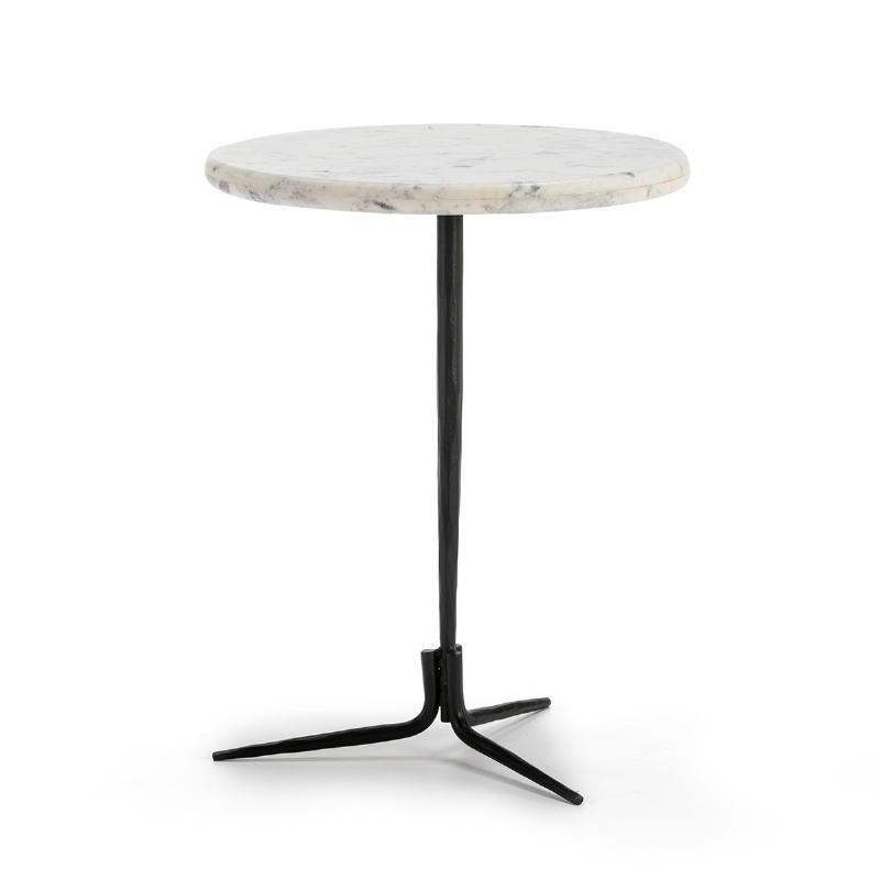 Table d'appoint, bout de canapé, bout de canapé 46x46x58 Marbre Blanc Métal Noir
