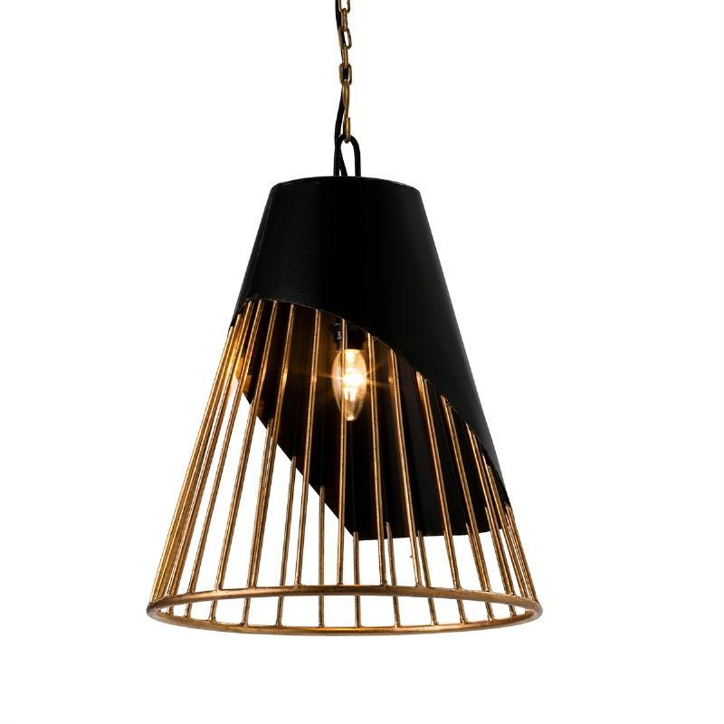 Lampada A Sospensione 40X40X53 Metallo Dorato Nero