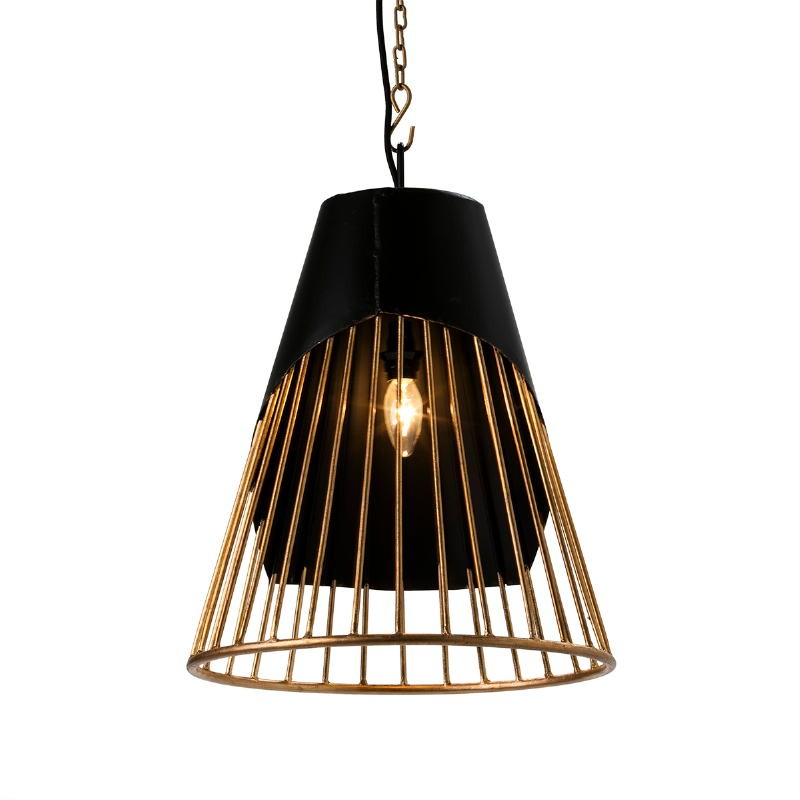 Hanging Lamp 40X40X53 Metal Golden Black - image 51603