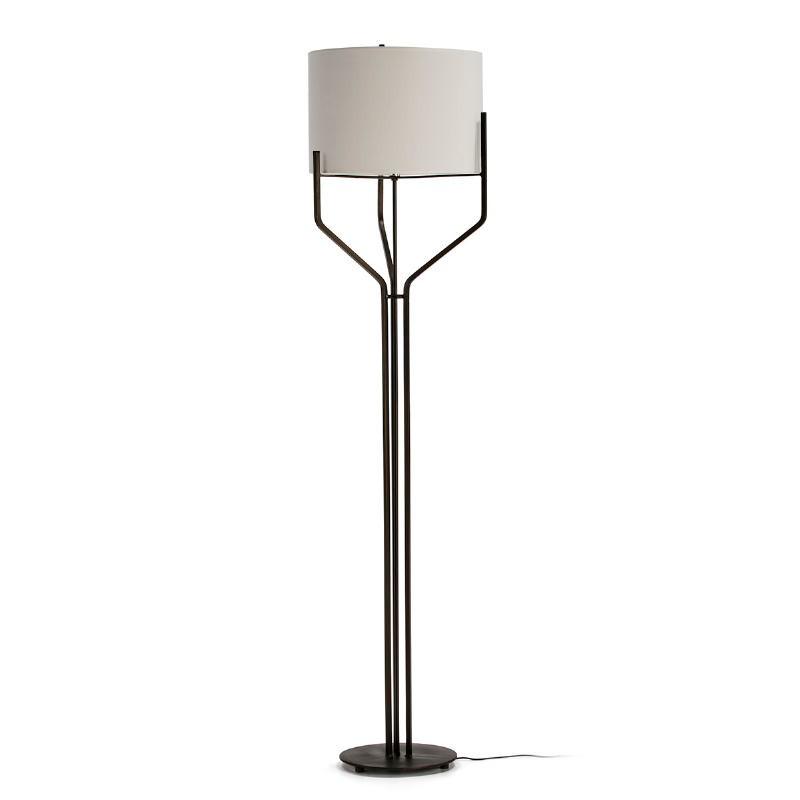 Lampada A Stelo Con Paralume 28X28X165 Metallo Marrone Scuro