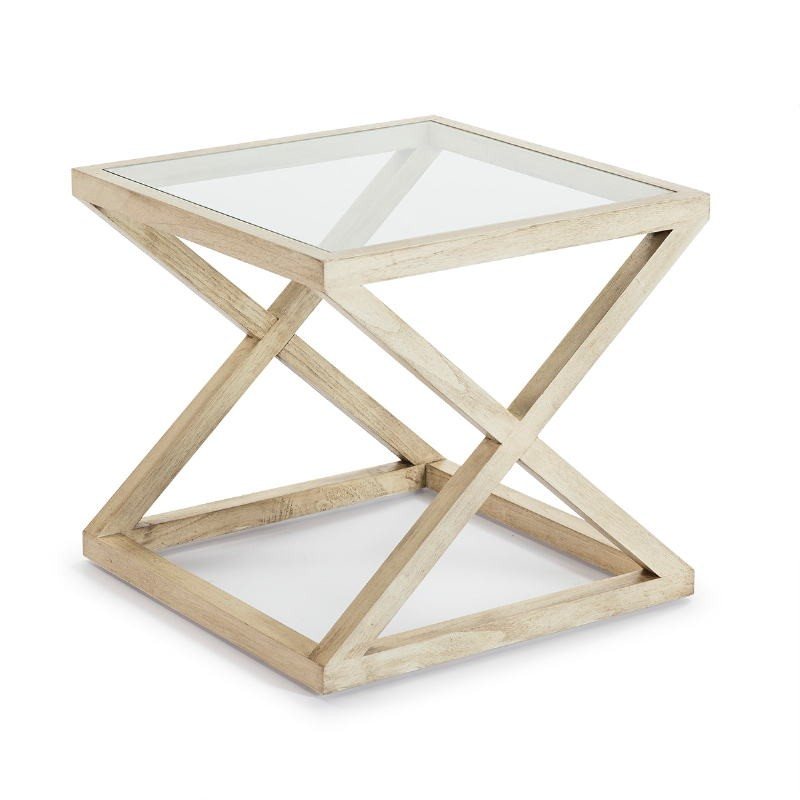 Hilfstisch 60X60X55 Glas/Holz Weiß Verschleiert