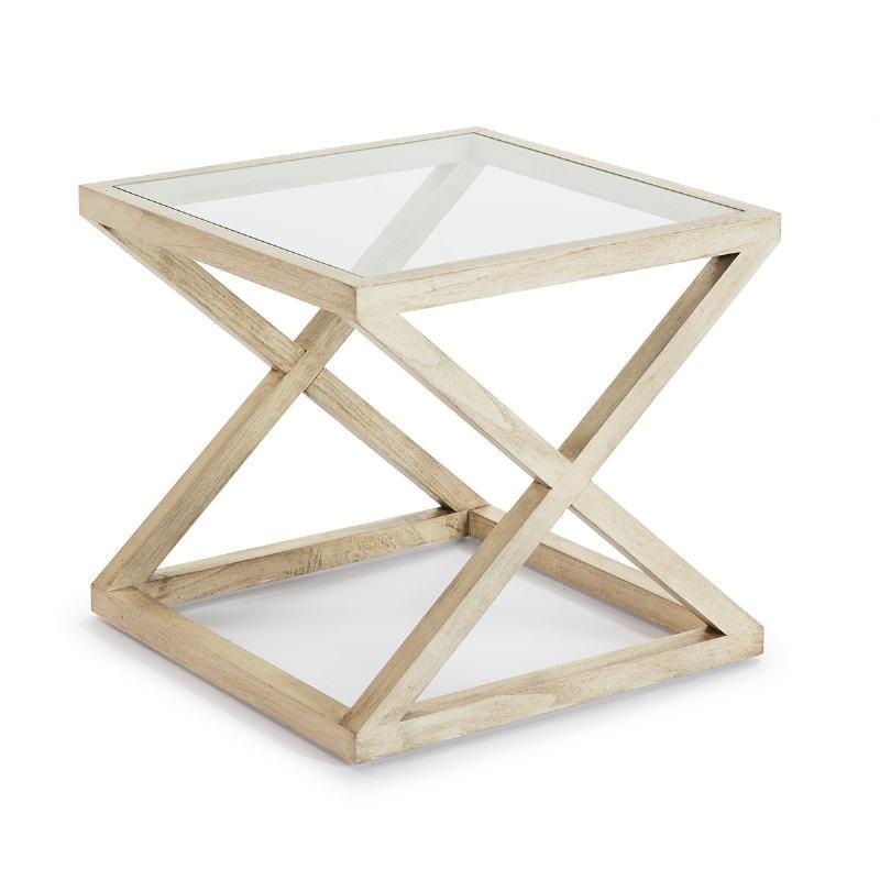 Table d'appoint, bout de canapé, bout de canapé 60x60x55 Verre Bois Blanc blanchi