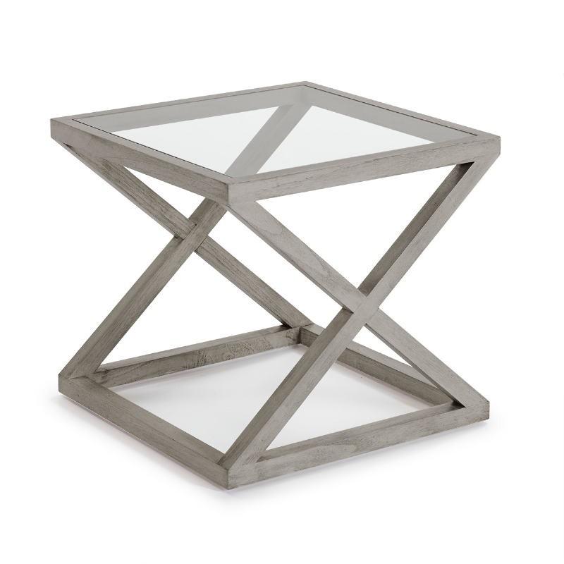 Side Table 60X60X55 Glass Wood Grey Veiled - image 51618