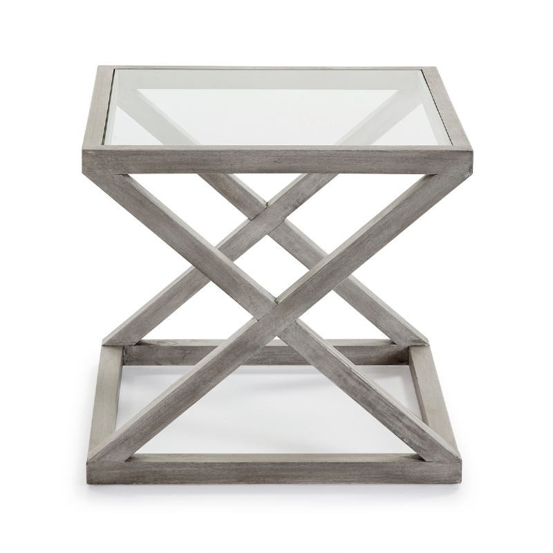 Side Table 60X60X55 Glass Wood Grey Veiled - image 51621