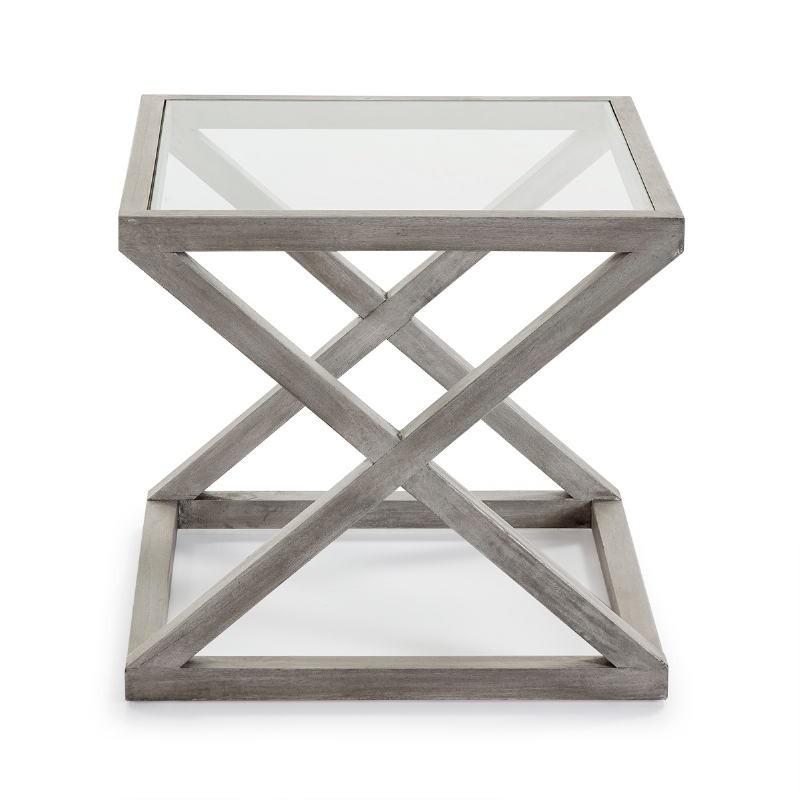 Table d'appoint, bout de canapé, bout de canapé 60x60x55 Verre Bois Gris blanchi - image 51621