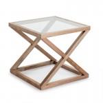 Table d'appoint, bout de canapé, bout de canapé 60x60x55 Verre Bois Naturel blanchi