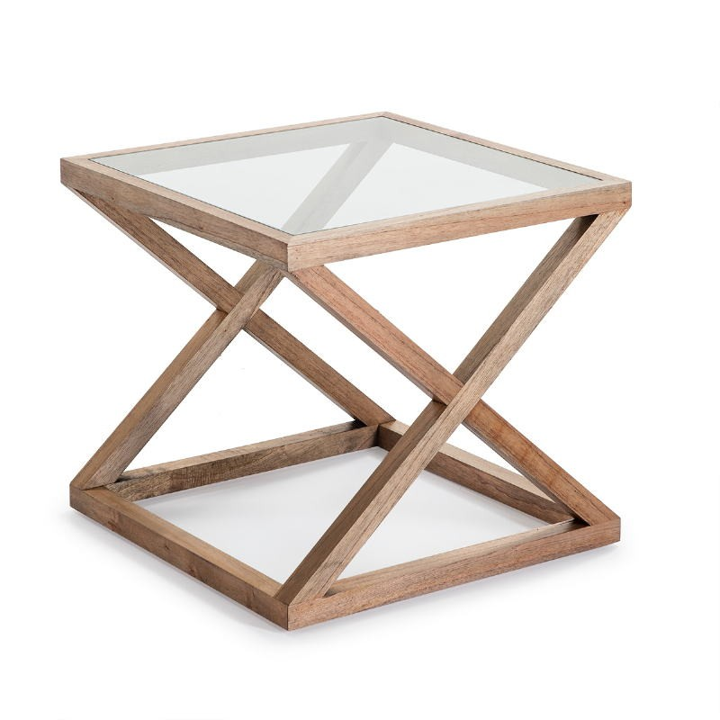 Side Table 60X60X55 Glass Wood Natural Veiled - image 51622
