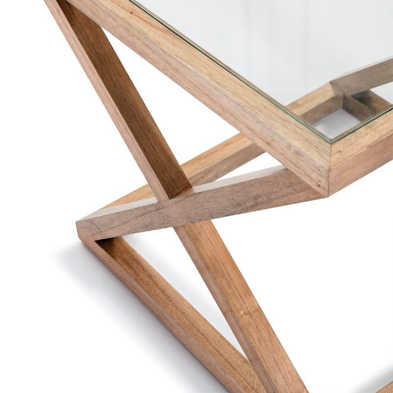 Table d'appoint, bout de canapé, bout de canapé 60x60x55 Verre Bois Naturel blanchi - image 51623