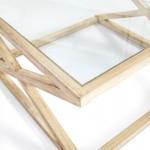 Coffee Table 90X90X45 Glass Wood White Veiled