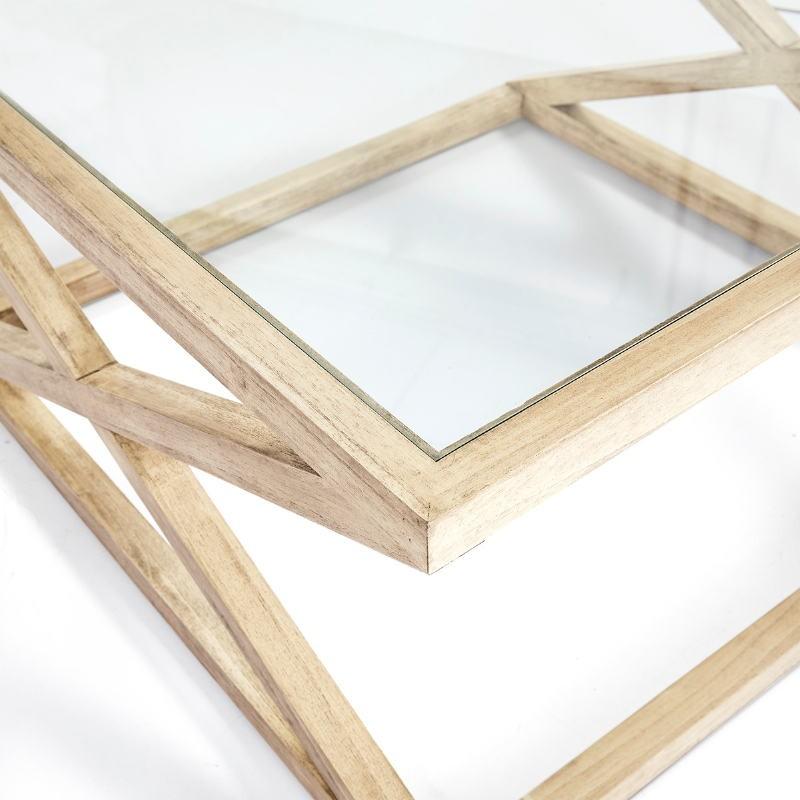 Table basse 90x90x45 Verre Bois Blanc blanchi - image 51626
