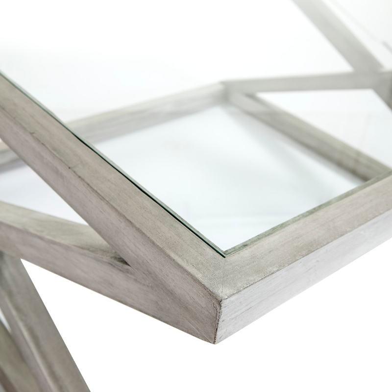 Coffee Table 90X90X45 Glass Wood Grey Veiled - image 51629