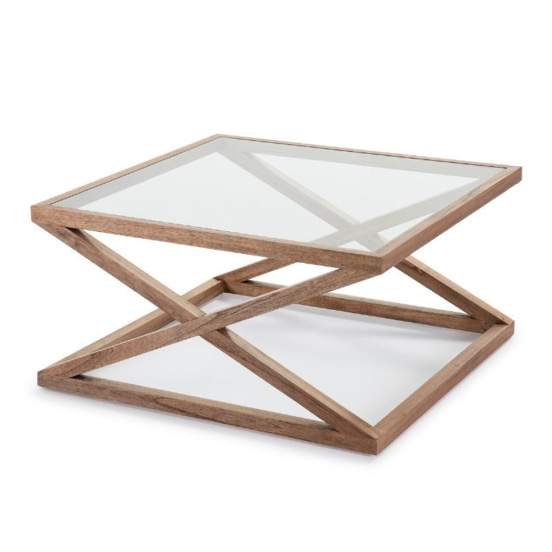 Coffee Table 90X90X45 Glass Wood Natural Veiled - image 51631