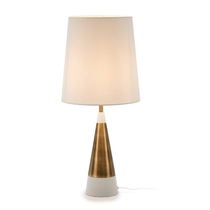 Lampada Da Tavolo Senza Paralume 13X13X45 Metallo Dorato Bianco