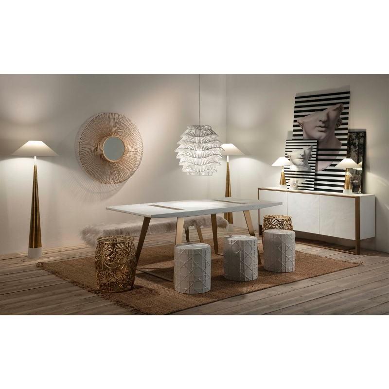 Lampe de Table sans abat-jour 13x13x45 Métal Doré Blanc - image 51647