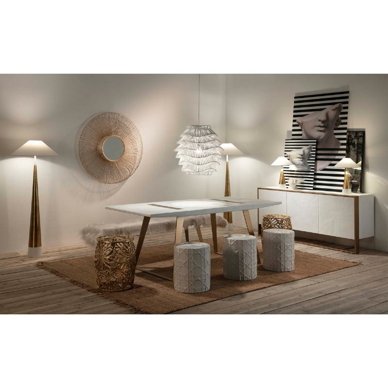 Table Lamp Without Lampshade 13X13X45 Metal Golden White - image 51647