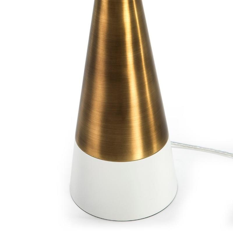 Lampada Da Tavolo Senza Paralume 13X13X45 Metallo Dorato Bianco - image 51648
