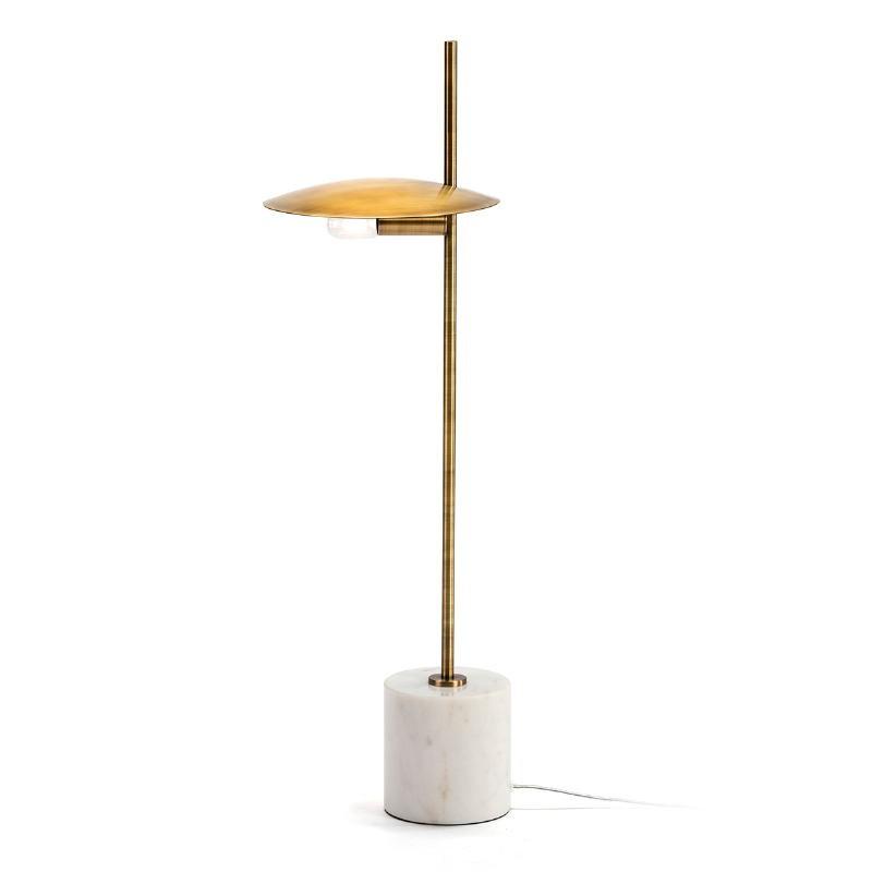 Lampada Da Tavolo 24X12X77 Marmo Bianco Metallo Dorato