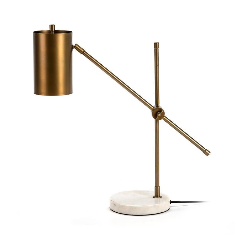 Lampe de Table 66x16x75 Marbre Blanc Métal Doré - image 51691