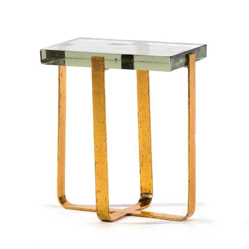 Table d'appoint, bout de canapé, bout de canapé 41x26x46 Verre Métal Doré