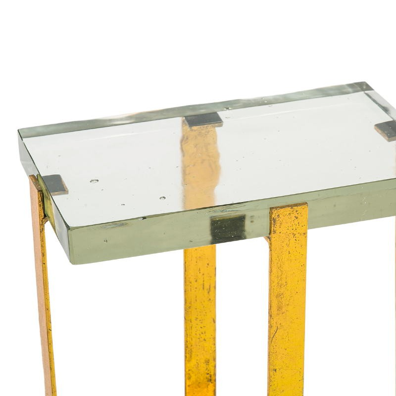 Side Table 41X26X46 Glass Metal Golden - image 51698