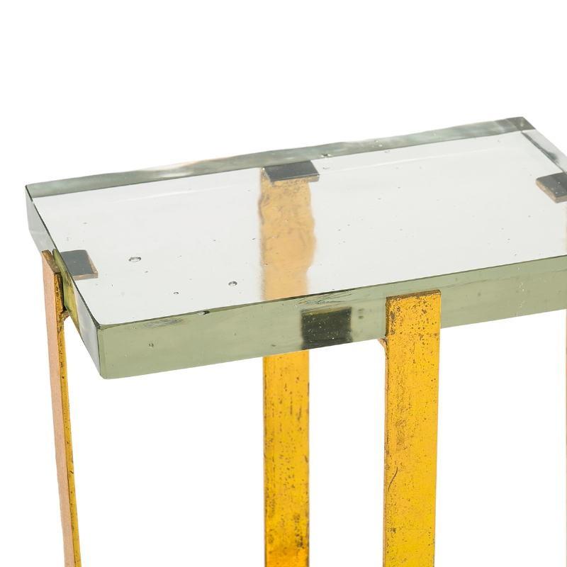 Table d'appoint, bout de canapé, bout de canapé 41x26x46 Verre Métal Doré - image 51698