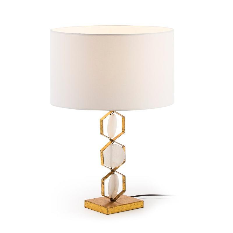 Lámpara de mesa Sin Pantalla 16X12X36 Metal Dorado Piedra Blanco