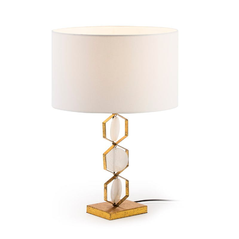 Table lamp Without Lampshade 16X12X36 Metal Golden Stone White