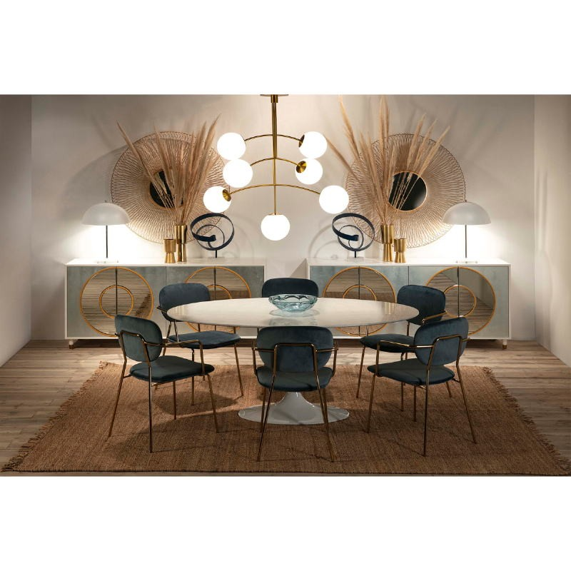 Lampe de Table 43x43x56 Métal Blanc Nickel - image 51715