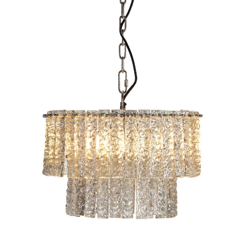 Lampada A Sospensione 39X39X29 Vetro Metallo Argento