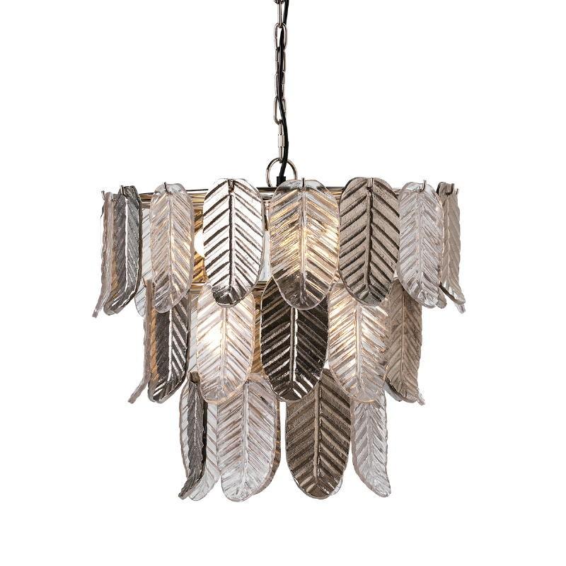 Lampe suspendue 46x46x43 Verre Métal Argent