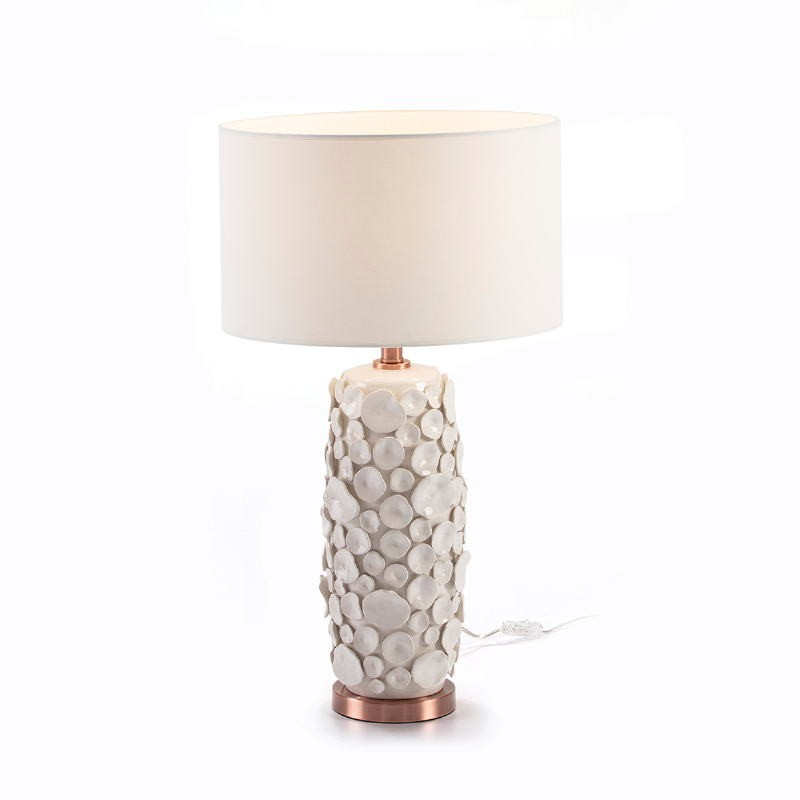 Lampada Da Tavolo Senza Paralume 17X15X52 Ceramica Bianco Metallo Colore Rame - image 51742