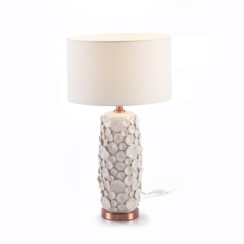 Lampe Auf Tisch Ohne Bildschirm 17X15X52 Keramik Weiß/Metall Kupferfarbe - image 51742