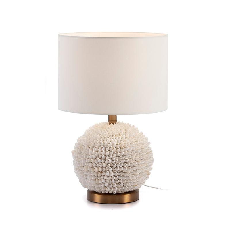 Table Lamp Without Lampshade 25X16X33 Shells White Metal Golden - image 51744