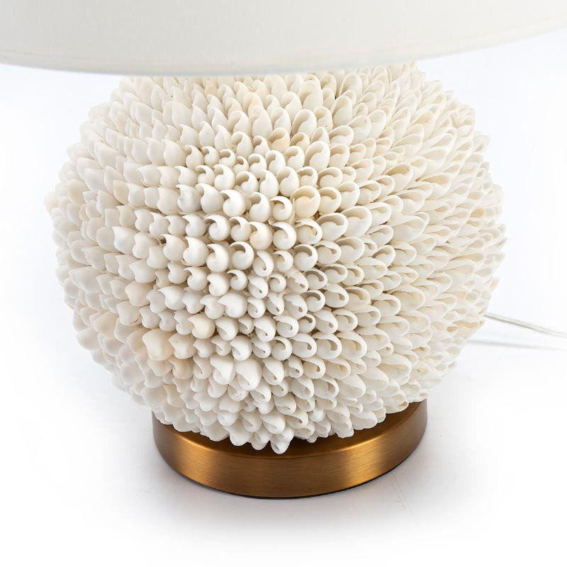 Table Lamp Without Lampshade 25X16X33 Shells White Metal Golden - image 51745